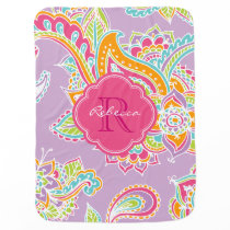 Colorful Bohemian Paisley Custom Monogram Baby Blanket
