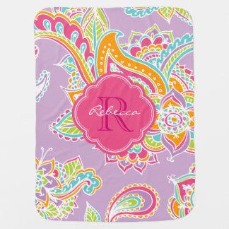 Colorful Bohemian Paisley Custom Monogram Baby Blanket