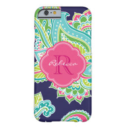 Colorful Bohemian Paisley Custom Monogram Barely There iPhone 6 Case