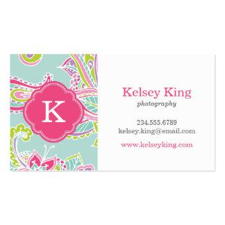 Colorful Bohemian Paisley Custom Monogram Business Card Templates