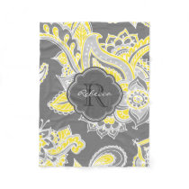 Colorful Bohemian Paisley Custom Monogram Fleece Blanket