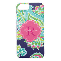 Colorful Bohemian Paisley Custom Monogram iPhone 7 Case