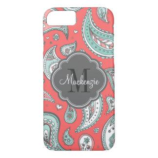 Colorful Bohemian Paisley Custom Monogram iPhone 7 Case