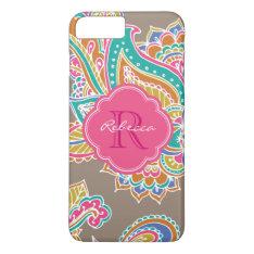Colorful Bohemian Paisley Custom Monogram Iphone 7 Plus Case at Zazzle