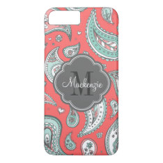 Colorful Bohemian Paisley Custom Monogram Iphone 7 Plus Case at Zazzle