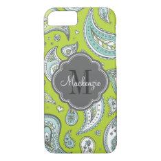 Colorful Bohemian Paisley Custom Monogram Iphone 8/7 Case at Zazzle