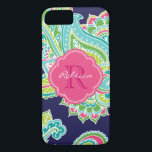 "Colorful Bohemian Paisley Custom Monogram iPhone 8/7 Case<br><div class=""desc"">Custom design features an elegant ornate hand-drawn bohemian mehndi henna tattoo illustration with botanical floral and paisley swirls. Click the Customize It button to add your name and monogram to create your own unique one of a kind design.</div>"