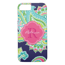 Colorful Bohemian Paisley Custom Monogram iPhone 8/7 Case