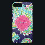 "Colorful Bohemian Paisley Custom Monogram iPhone 8 Plus/7 Plus Case<br><div class=""desc"">Custom design features an elegant ornate hand-drawn bohemian mehndi henna tattoo illustration with botanical floral and paisley swirls. Click the Customize It button to add your name and monogram to create your own unique one of a kind design.</div>"