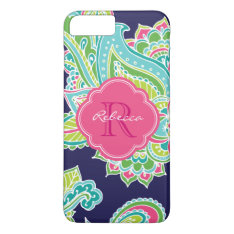 Colorful Bohemian Paisley Custom Monogram Iphone 8 Plus/7 Plus Case at Zazzle