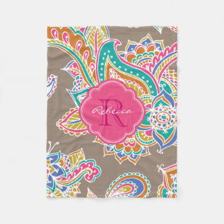 Colorful Bohemian Paisley Custom Monogram Fleece Blanket
