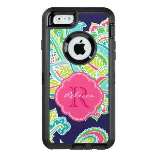Colorful Bohemian Paisley Custom Monogram OtterBox Defender iPhone Case
