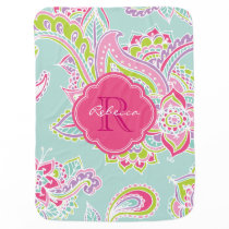 Colorful Bohemian Paisley Custom Monogram Receiving Blanket