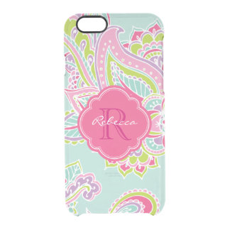 Colorful Bohemian Paisley Custom Monogram Uncommon Clearly™ Deflector iPhone 6 Case