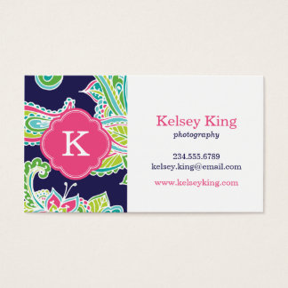 Colorful Bohemian Paisley Henna Custom Monogram Business Card