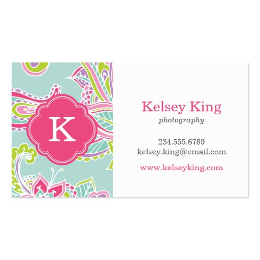 Colorful Bohemian Paisley Henna Custom Monogram Business Card Templates