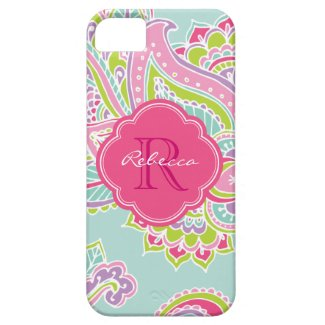 Colorful Bohemian Paisley Henna Custom Monogram iPhone 5 Cases