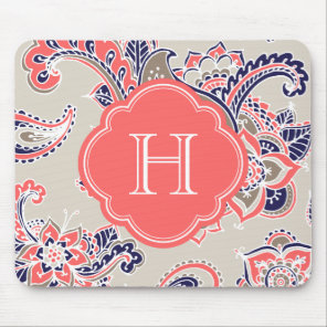Colorful Bohemian Paisley Henna Custom Monogram Mouse Pad