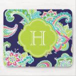 Colorful Bohemian Paisley Henna Custom Monogram Mouse Pad