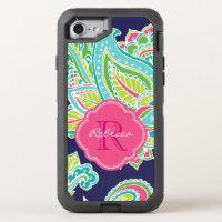 Colorful Bohemian Paisley Monogram OtterBox Defender iPhone 7 Case