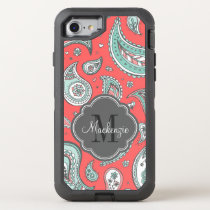 Colorful Bohemian Paisley Monogram OtterBox Defender iPhone 8/7 Case