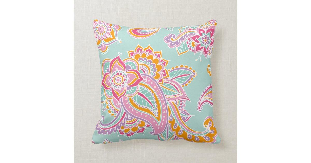Colorful Bohemian Throw Pillows : Colorful Bohemian Paisley Throw Pillow Zazzle