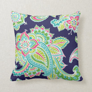 Colorful Bohemian Paisley Throw Pillow