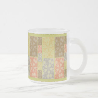 Colorful Bohemian Patchwork Frosted Glass Coffee Mug