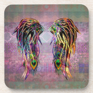 Colorful Bohemian Peacock Feather Angel Wings Coaster