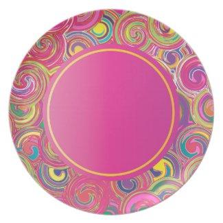 Colorful Bohemian Swirls Plates