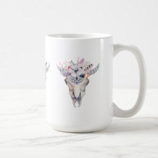 Colorful Boho Bull Scull Floral Bouquet Coffee Mug