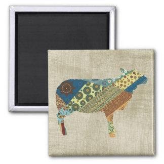 Colorful BoHo Quilt Sheep Design Magnet