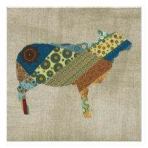 Colorful BoHo Quilt Sheep Design Poster
