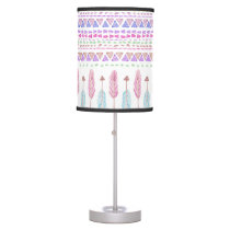 Colorful Boho Tribal Aztec Feather Arrows Pattern Desk Lamp
