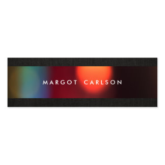 Colorful Bokeh Black Linen Look Chic Business Card Template