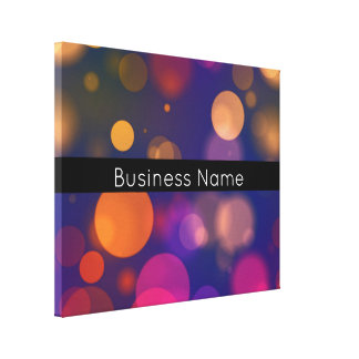 Colorful Bokeh Lights with Business Name Canvas Print