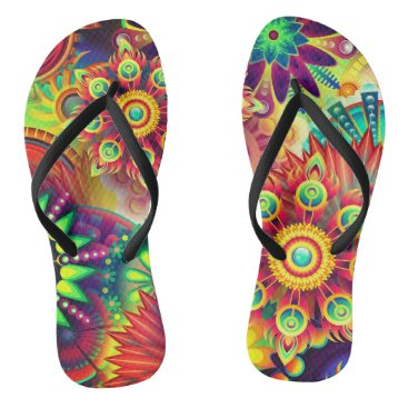 Beach Themed Colorful, bold,abstract flower print flipflops