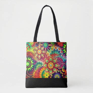 Beach Themed Colorful, bold, abstract flower print tote
