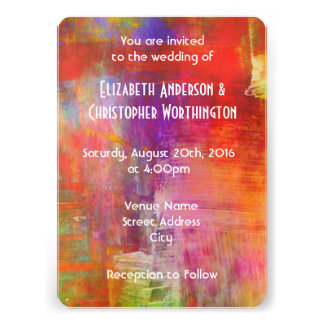Colorful Bold Abstract Painting Wedding Card