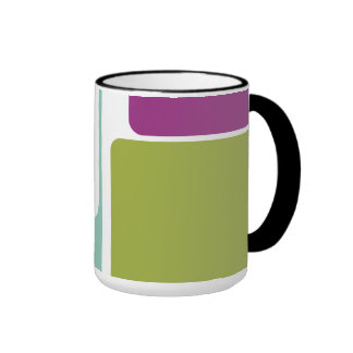 colorful bold abstract retro art linear geometric ringer mug