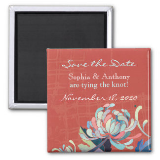 Colorful, Bold Floral Wedding Save the Date Refrigerator Magnets