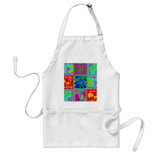 Colorful Bold Funky Animals Patchwork Pattern Apron