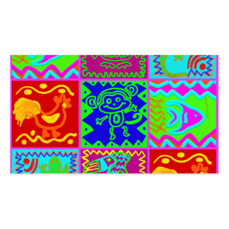 Colorful Bold Funky Animals Patchwork Pattern Business Card