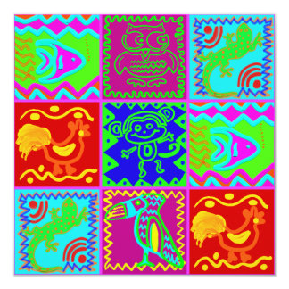 Colorful Bold Funky Animals Patchwork Pattern Card