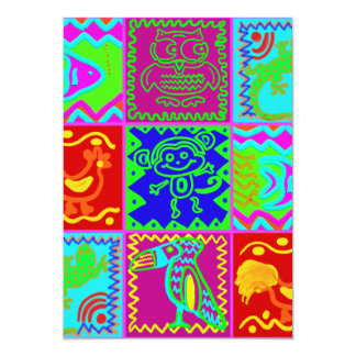Colorful Bold Funky Animals Patchwork Pattern Custom Invitations