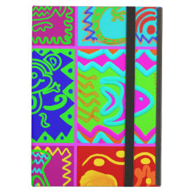 Colorful Bold Funky Animals Patchwork Pattern iPad Covers