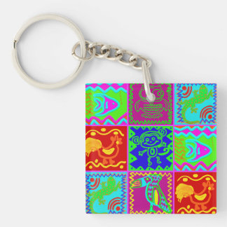 Colorful Bold Funky Animals Patchwork Pattern Keychain