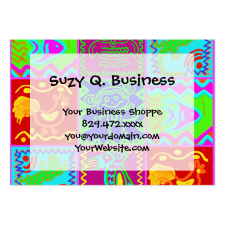 Colorful Bold Funky Animals Patchwork Pattern Large Business Card