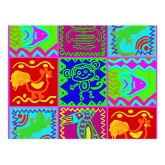Colorful Bold Funky Animals Patchwork Pattern Postcard