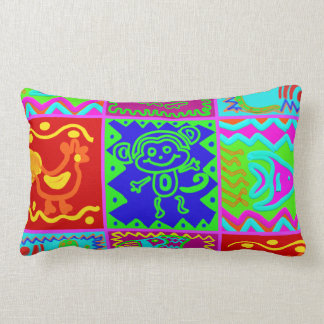 Colorful Bold Funky Animals Patchwork Pattern Throw Pillows